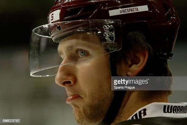 Juraj Mikus before the Champions Hockey League match between Sparta Prague and Comarch Cracovia at o2 Arena Prague on August 26, 2016 in Prague,...