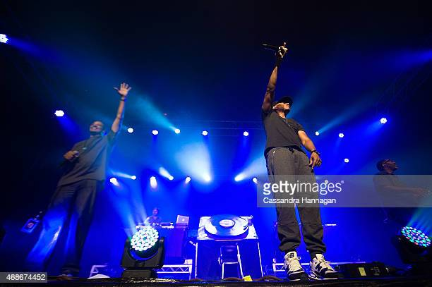Jurassic 5 performs live for fans at the 2015 Byron Bay Bluesfest on April 5 2015 in Byron Bay Australia