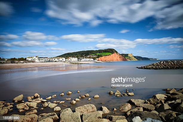 jurassic coast:  sidmouth, devon - devon stock pictures, royalty-free photos & images