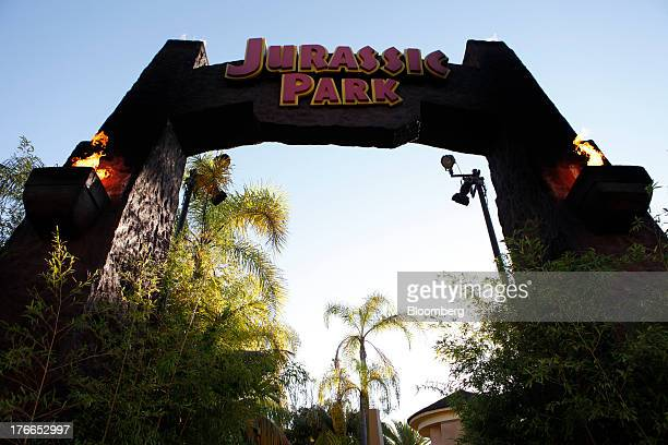 Jurassic Park The Ride signage is displayed at the Universal Studios Hollywood theme park in Hollywood California US on Thursday Aug 15 2013 NBC...
