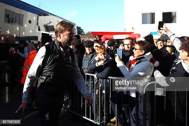 Jurgan Klopp Manager of Liverpool arrives prior to the Premier League match between AFC Bournemouth and Liverpool at Vitality Stadium on December 4...