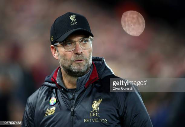 Jurgan Klopp Manager of Liverpool looks on during the Premier League match between Liverpool FC and Everton FC at Anfield on December 2 2018 in...