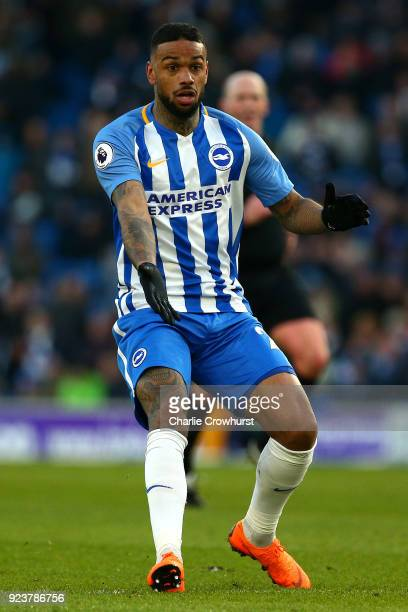 Jurgan Locadia of Brighton attacks during the Premier League match between Brighton and Hove Albion and Swansea City at Amex Stadium on February 24...
