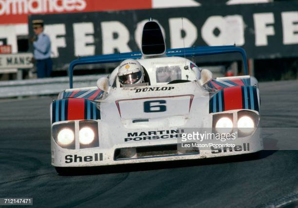 Jurgen Barth of Germany driving the Porsche 936/78 for the Martini Racing Porsche System to a 2nd place finish during the FIA World Challenge for...