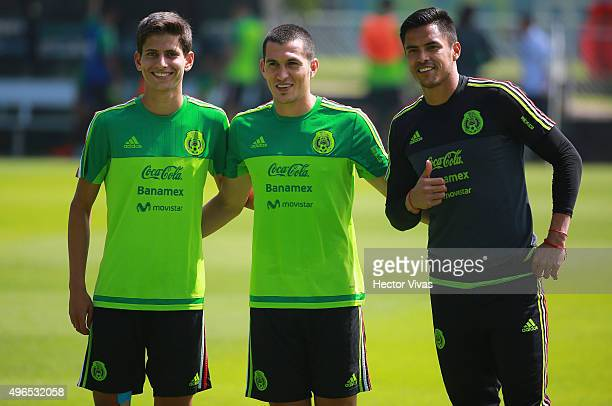 Jurgen Damm Jorge Torres Nilo and Alfredo Talavera pose for pictures during a training session at Centro de Alto Rendimiento on November 10 2015 in...