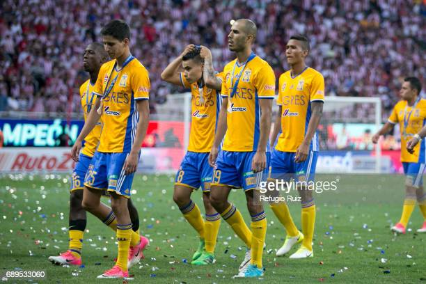 Jurgen Damm, Luis Advíncula, Lucas Zelarrayán and Guido Pizarro of Tigres look dejected after losing the Final second leg match between Chivas and...