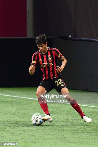 Jurgen Damm of Atlanta United dribbles the ball during a game between Orlando City SC and Atlanta United FC at Marecedes-Benz Stadium on August 29,...