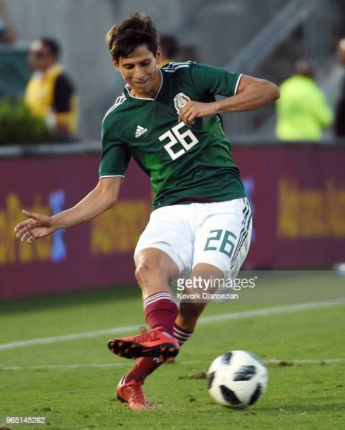Jurgen Damm of Mexico controls the ball against Wales during the second half of their friendly international soccer match at the Rose Bowl on May 28...