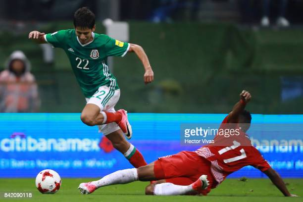Jurgen Damm of Mexico dribbles Luis Ovalle of Panama during the match between Mexico and Panama as part of the FIFA 2018 World Cup Qualifiers at...