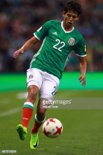 Jurgen Damm of Mexico drives the ball during the fifth round match between Mexico and Costa Rica as part of the FIFA 2018 World Cup Qualifiers at...