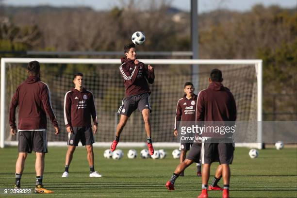 Jurgen Damm of Mexico heads the ball during the Mexico National Team training session at UTSA Park West Soccer Field on January 30 2017 in San...