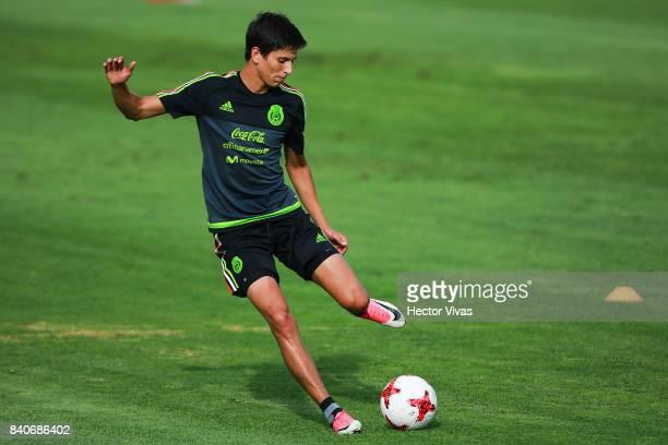 Jurgen Damm of Mexico kicks the ball during a training session at Centenario Stadium on August 28 2017 in Cuernavaca Mexico
