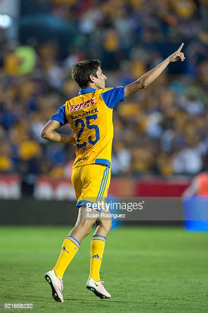 Jurgen Damm of Tigres celebrates after scoring his team's fifth goal during the 14th round match between Tigres UANL and Dorados de Sinaloa as part...