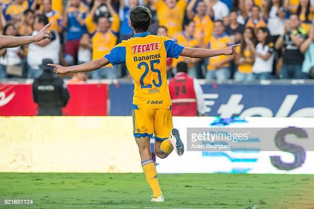 Jurgen Damm of Tigres celebrates after scoring his team's third goal during the 14th round match between Tigres UANL and Dorados de Sinaloa as part...