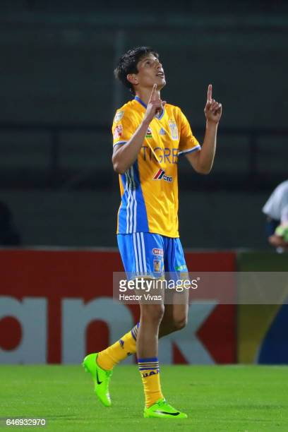 Jurgen Damm of Tigres celebrates after scoring the first goal of his team during the quarterfinals second leg match between Pumas UNAM and Tigres...