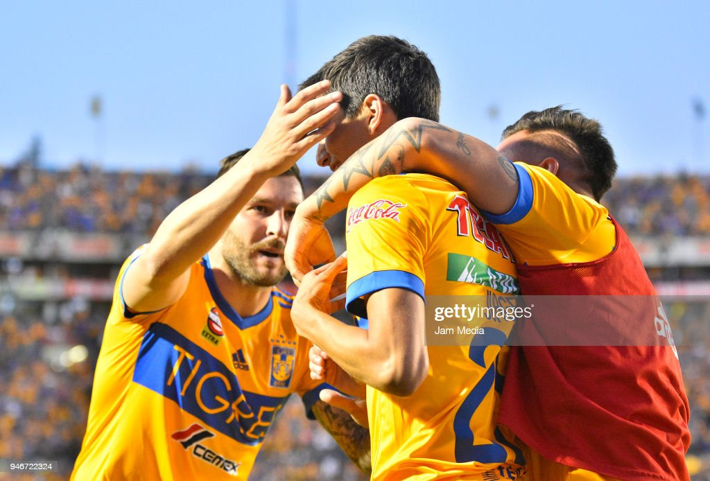 Jurgen Damm of Tigres celebrates after scoring the first goal of his team, during the 15th round match between Tigres UANL and Cruz Azul as part of the Torneo Clausura 2018 Liga MX at Universitario Stadium on April 14, 2018 in Monterrey, Mexico.