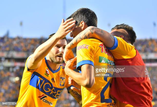 Jurgen Damm of Tigres celebrates after scoring the first goal of his team during the 15th round match between Tigres UANL and Cruz Azul as part of...