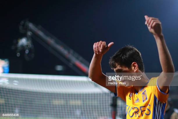 Jurgen Damm of Tigres celebrates after scoring the second goal of his team during the quarterfinals second leg match between Pumas UNAM and Tigres...