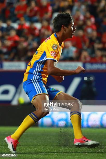 Jurgen Damm of Tigres celebrates after scoring the second goal of his team during the semi final second leg match between Tijuana and Tigres UANL as...