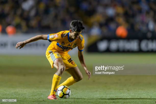 Jurgen Damm of Tigres controls the ball during the quarterfinals second leg match between Tigres UANL and Toronto FC as part of the CONCACAF...