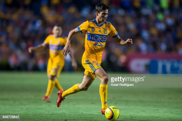 Jurgen Damm of Tigres drives the ball during the 15th round match between Tigres UANL and Cruz Azul as part of the Torneo Clausura 2018 Liga MX at...