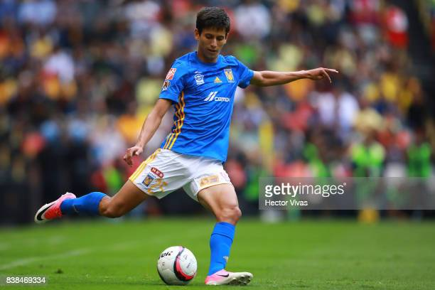 Jurgen Damm of Tigres drives the ball during the 6th round match between America and Tigres UANL as part of the Torneo Apertura 2017 Liga MX at...