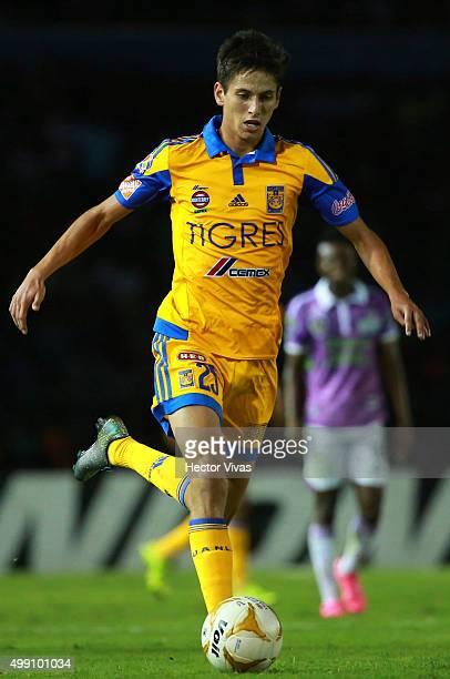 Jurgen Damm of Tigres drives the ball during the quarterfinals second leg match between Chiapas and Tigres UANL as part of the Apertura 2015 Liga MX...