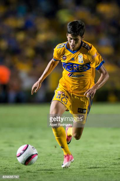 Jurgen Damm of Tigres drives the ball during the seventh round match between Tigres UANL and Lobos BUAP as part of the Torneo Apertura 2017 Liga MX...