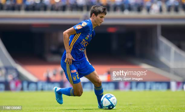 Jurgen Damm of Tigres in action during the 3rd round match between Pumas UNAM and Tigres UANL as part of the Torneo Apertura 2019 Liga MX at Olimpico...