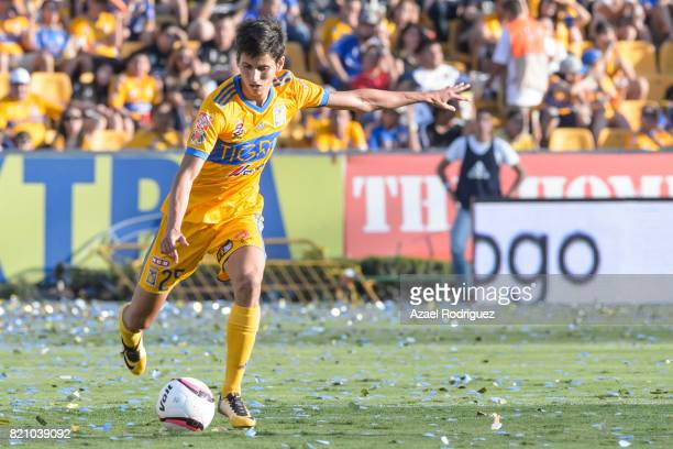 Jurgen Damm of Tigres kicks the ball during the 1st round match between Tigres UANL and Puebla as part of the Torneo Apertura 2017 Liga MX at...