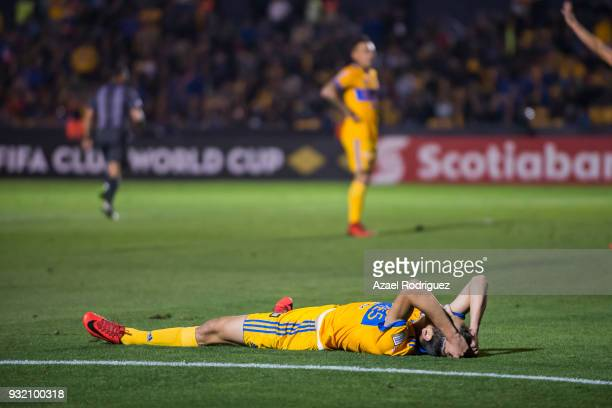 Jurgen Damm of Tigres lies on the ground during the quarterfinals second leg match between Tigres UANL and Toronto FC as part of the CONCACAF...