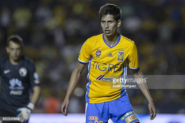 Jurgen Damm of Tigres looks on during the 3rd round match between Tigres UANL and America as part of the Torneo Clausura 2017 Liga MX at...
