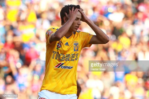 Jurgen Damm of Tigres reacts during the 11th round match between Queretaro and Tigres UANL as part of the Torneo Apertura 2018 Liga MX at La...