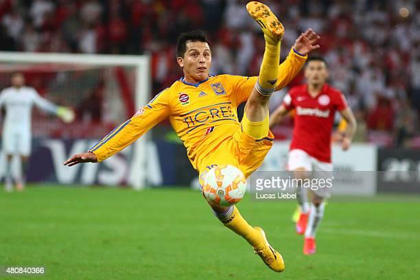 Jurgen Damm of Tigres tries to kick the ball during the match between Internacional v Tigres as part of Copa Bridgestone Libertadores 2015 SemiFinals...