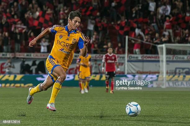 Jurgen Damm of Tigres UANL runs for the ball during a 6th round match between Tijuana and Tigres UANL as part of the Apertura 2015 Liga MX at...