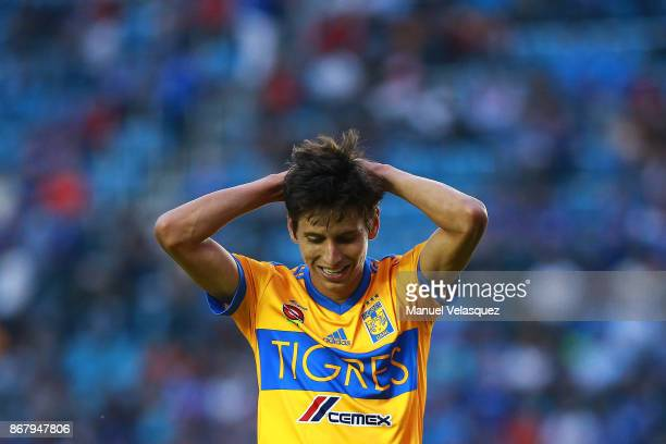 Jurgen Damm reacts after missing a chance to score during the 15th round match between Cruz Azul and Tigres UANL as part of the Torneo Apertura 2017...