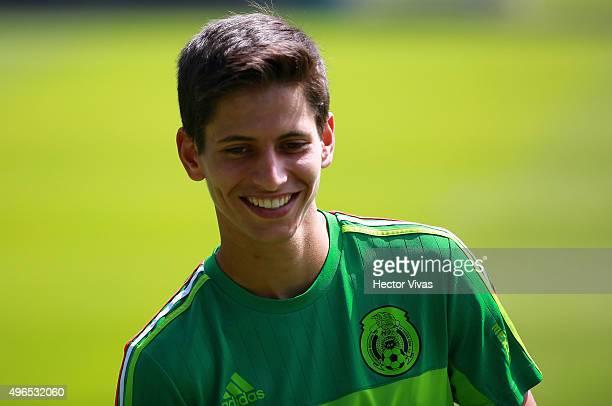Jurgen Damm smiles during a training session at Centro de Alto Rendimiento on November 10 2015 in Mexico City Mexico Mexico will face El Salvador on...