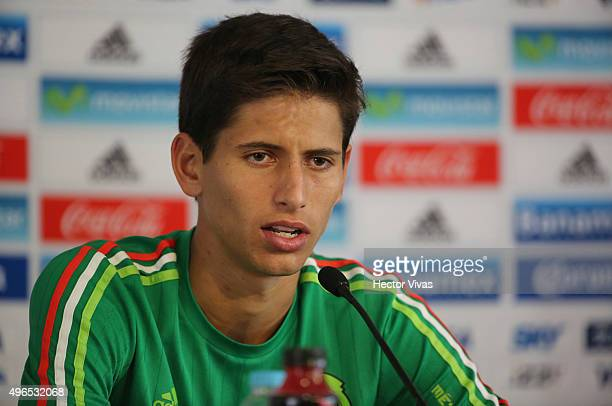 Jurgen Damm speaks during a press conference after a training session at Centro de Alto Rendimiento on November 10 2015 in Mexico City Mexico Mexico...