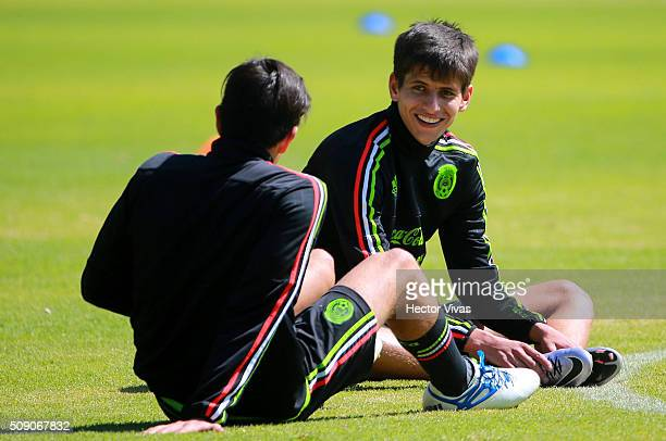 Jurgen Damm talks with his teammate during a Mexico training session at Centro de Alto Rendimiento on February 08 2016 in Mexico City Mexico Mexico...