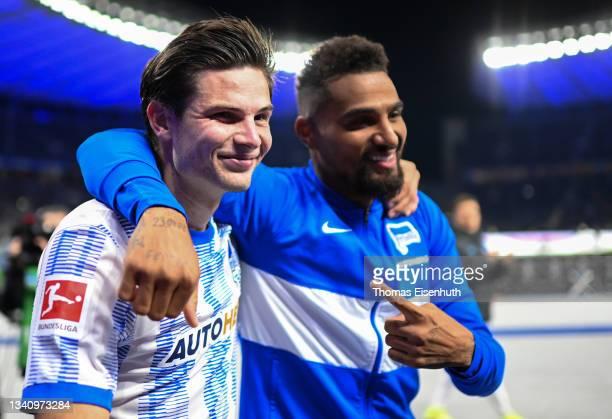 Jurgen Ekkelenkamp and Kevin-Prince Boateng of Hertha Berlin celebrate after the Bundesliga match between Hertha BSC and SpVgg Greuther Fürth at...
