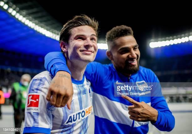 Jurgen Ekkelenkamp and Kevin-Prince Boateng of Hertha celebrate after the Bundesliga match between Hertha BSC and SpVgg Greuther Fürth at...
