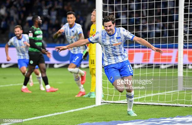 Jurgen Ekkelenkamp of Hertha Berlin celebrates a goal which was changed to an own goal by Maximilian Bauer of Greuther Fürth during the Bundesliga...
