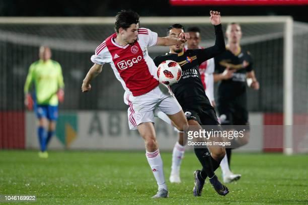 Jurgen Ekkenlenkamp of Ajax U23 Anass Najah of Telstar during the Dutch Keuken Kampioen Divisie match between Ajax U23 v Telstar at the De Toekomst...