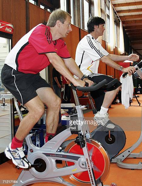 Jurgen Klinsmann and his assistent coach Joachim Loew exercise during the German National Team training session on June 16 2006 in Berlin Germany