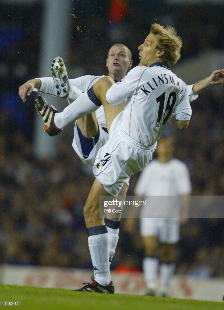 Jurgen Klinsmann and Paul Gascoigne of Tottenham Hotspur go for the ball during the Tottenham Hotspur Tribute match between Tottenham Hotspur and D.C. United at White Hart Lane in London on October 17, 2002.