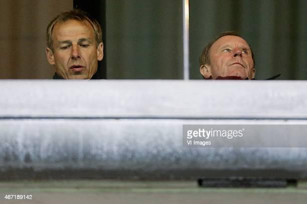 Jurgen Klinsmann Berti Vogts during the Dutch Eredivisie match between AZ Alkmaar and SC Cambuur at the AFAS stadium on march 21 2015 in Alkmaar the...