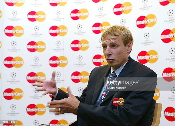 Jurgen Klinsmann former Germany and Monaco player announces his Mastercard European team of the season before The UEFA Champions League Final at The...