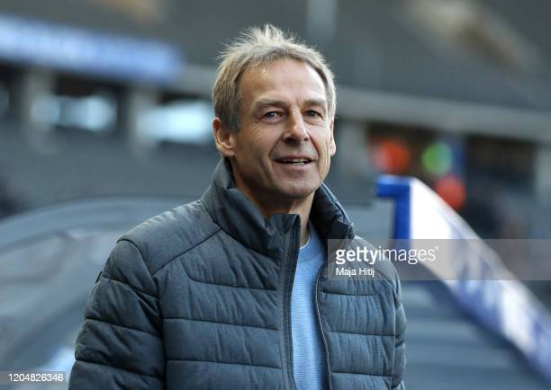 Jurgen Klinsmann, Head Coach of Herta BSC looks on prior to the Bundesliga match between Hertha BSC and 1. FSV Mainz 05 at Olympiastadion on February...