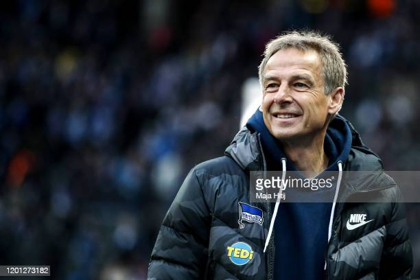 Jurgen Klinsmann head coach of Hertha Berlin looks on prior to during the Bundesliga match between Hertha BSC and FC Bayern Muenchen at...