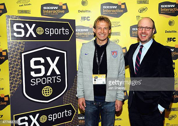 Jurgen Klinsmann head coach of the US Men's National Soccer Team and ESPN's Roger Bennett attend SXsports 'Knocking Down the Door The US National...